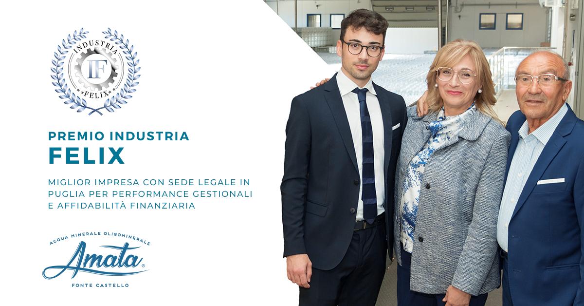 """Premio industria felix, """"acqua amata"""" eletta miglior impresa con sede legale in puglia per performance gestionali e affidabilità finanziaria"""